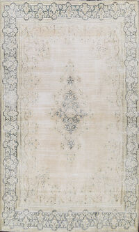 Muted Distressed Kerman Persian Area Rug 8x11