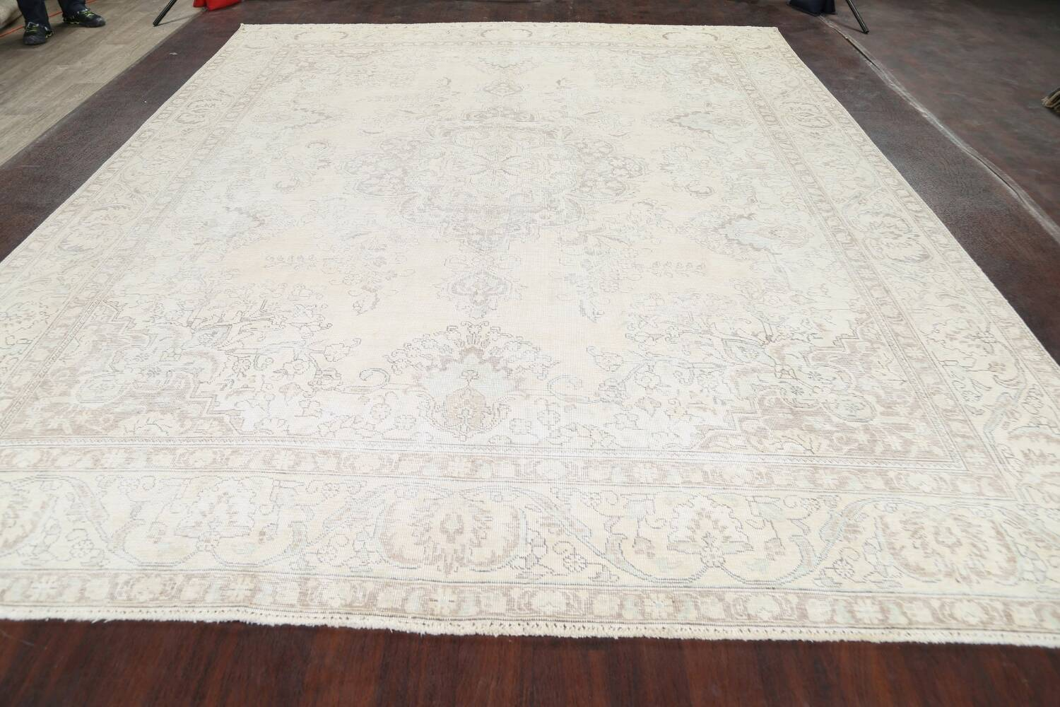 Muted Distressed Tabriz Persian Area Rug 10x12 image 15