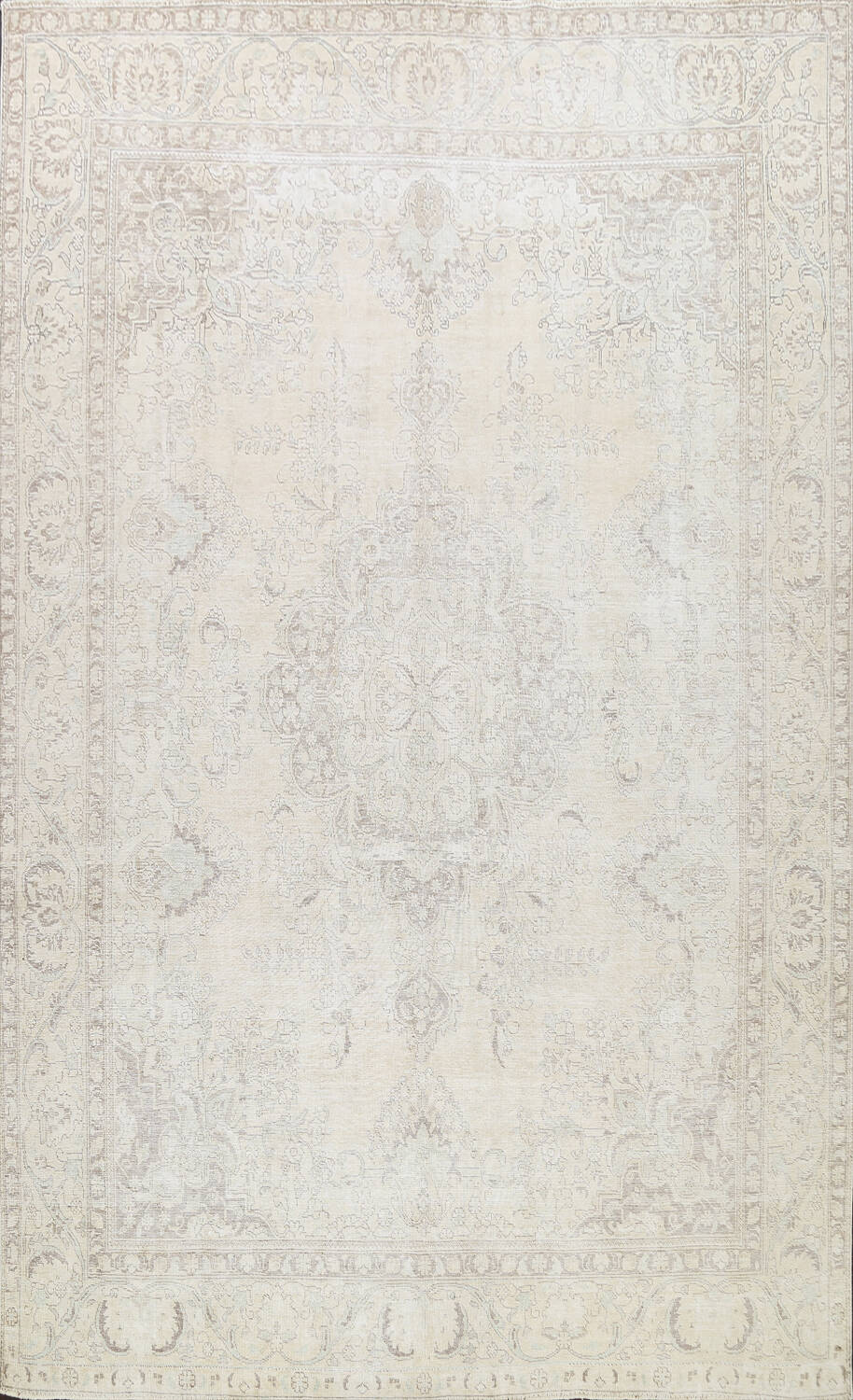 Muted Distressed Tabriz Persian Area Rug 10x12 image 1