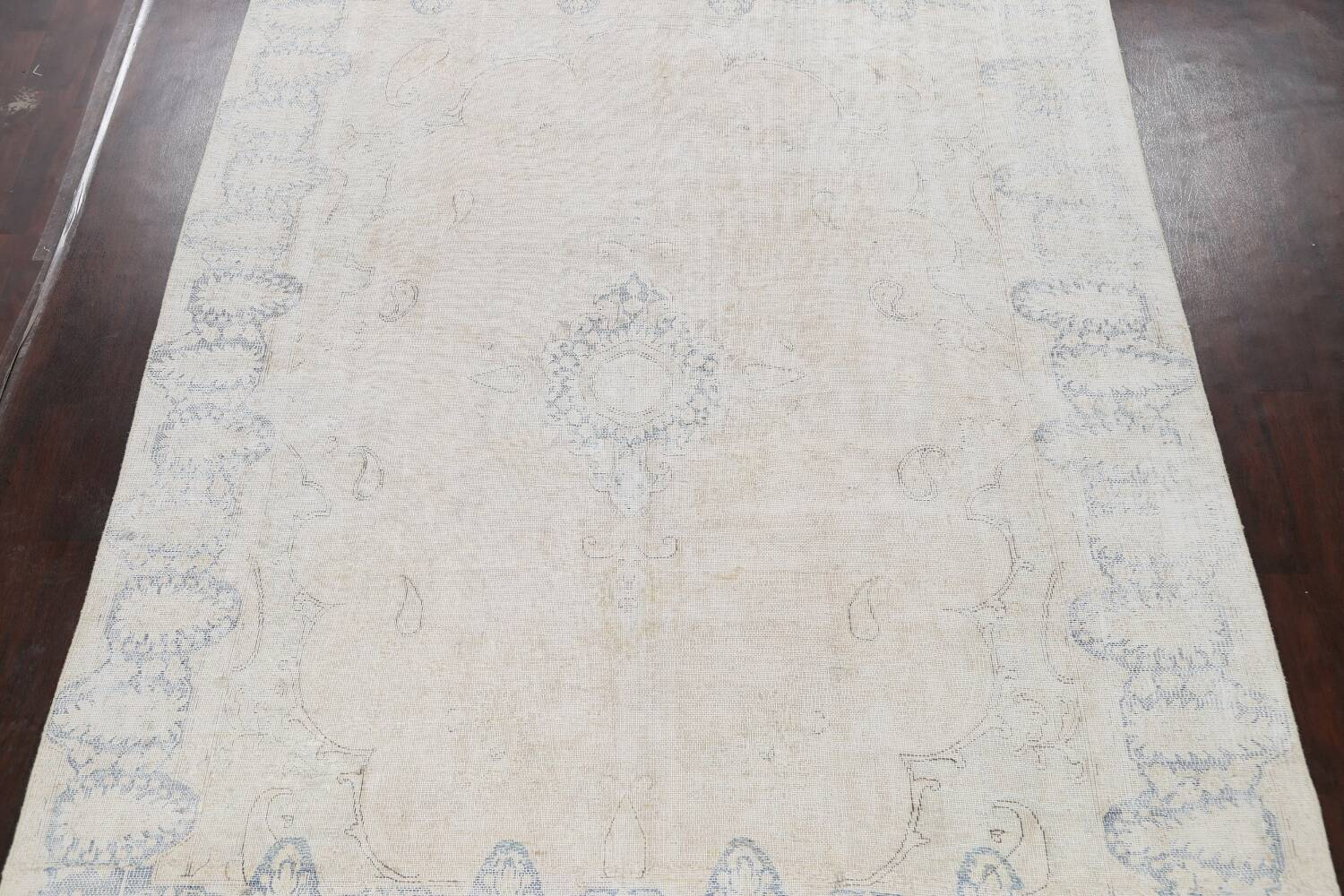 Antique Muted Distressed Kerman Persian Area Rug 9x11 image 3