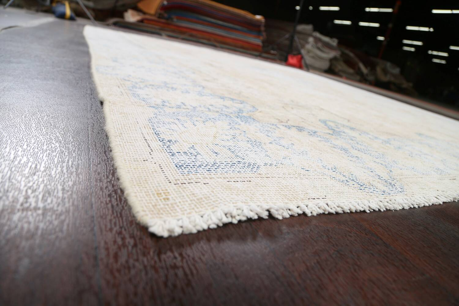 Antique Muted Distressed Kerman Persian Area Rug 9x11 image 6