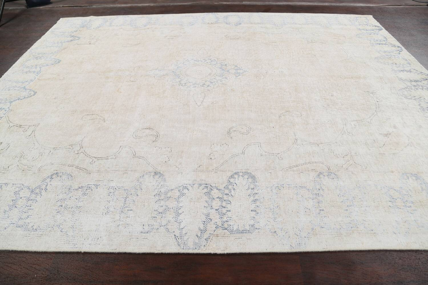 Antique Muted Distressed Kerman Persian Area Rug 9x11 image 14