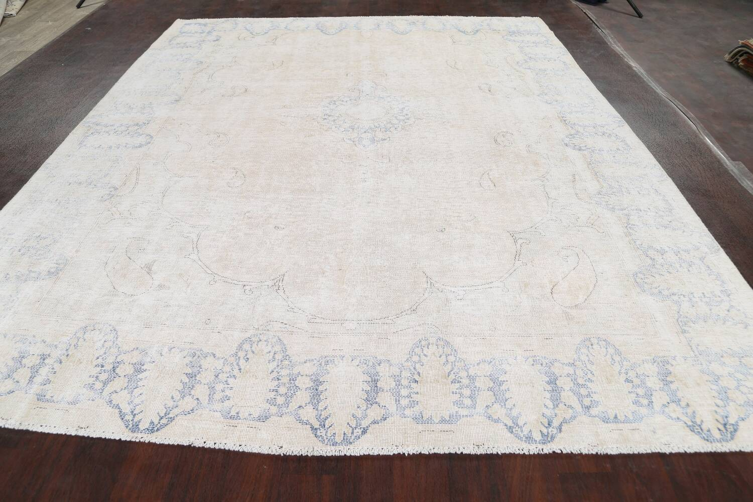 Antique Muted Distressed Kerman Persian Area Rug 9x11 image 15