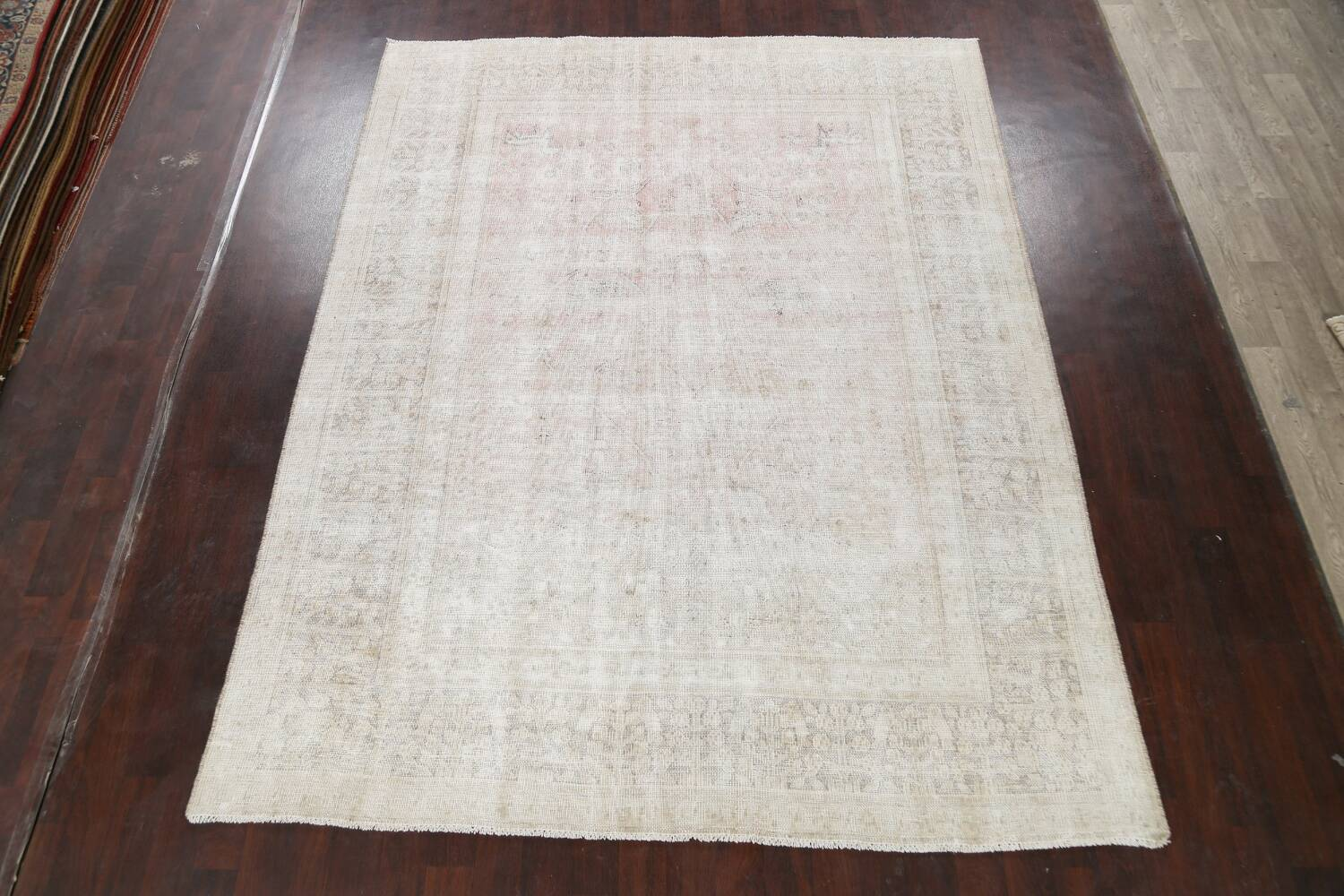 Antique Muted Distressed Tabriz Persian Area Rug 9x11 image 2