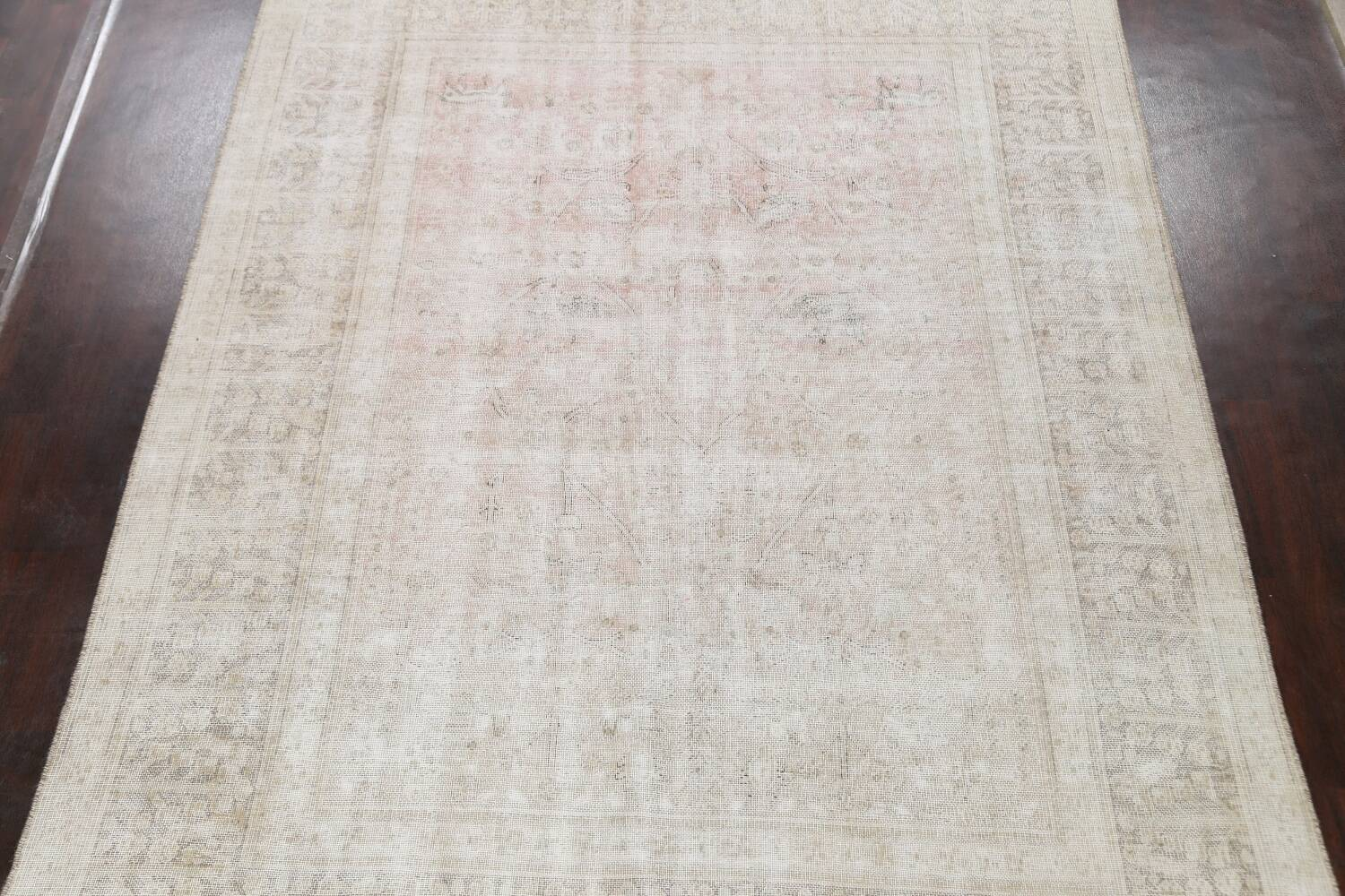 Antique Muted Distressed Tabriz Persian Area Rug 9x11 image 3