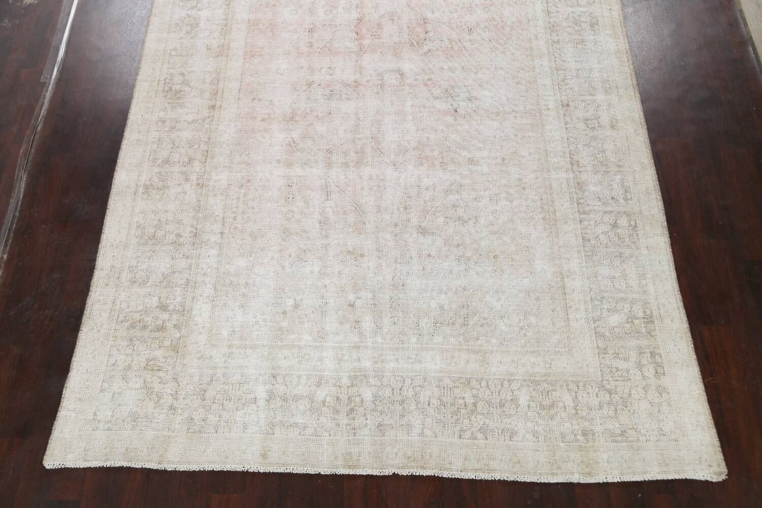 Antique Muted Distressed Tabriz Persian Area Rug 9x11 image 8