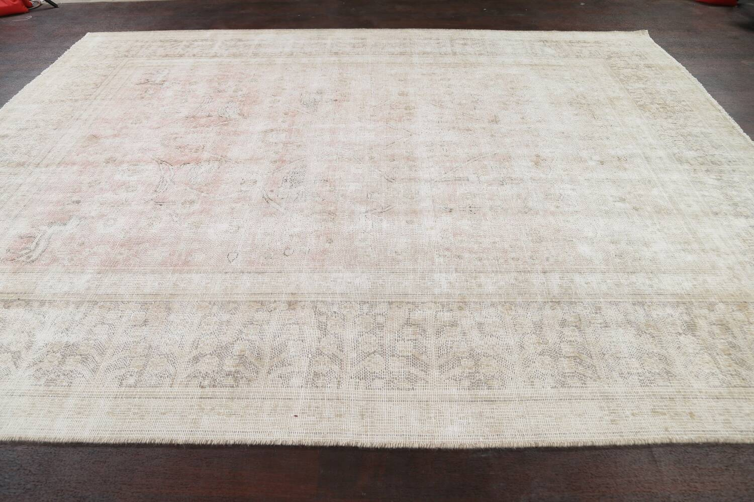 Antique Muted Distressed Tabriz Persian Area Rug 9x11 image 14