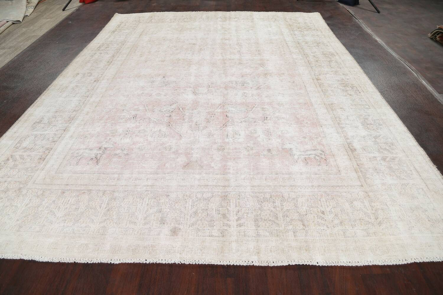 Antique Muted Distressed Tabriz Persian Area Rug 9x11 image 15