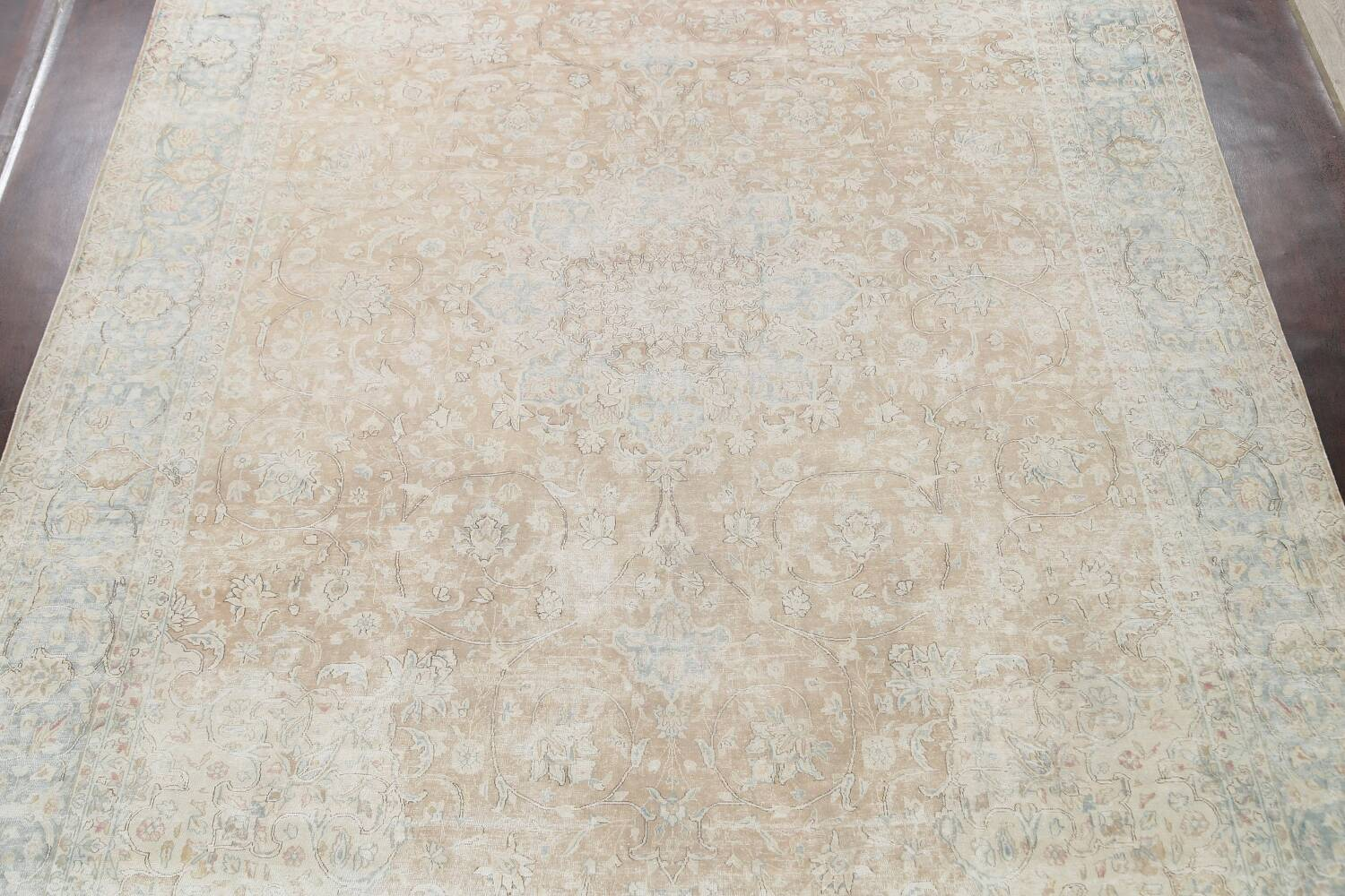 Muted Floral Kerman Persian Area Rug 10x13 image 3