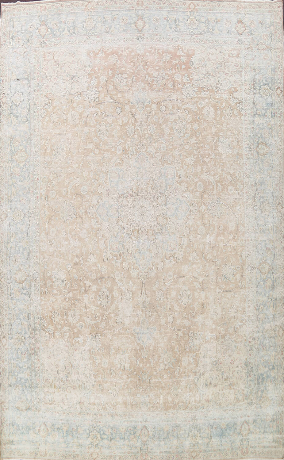 Muted Floral Kerman Persian Area Rug 10x13 image 1