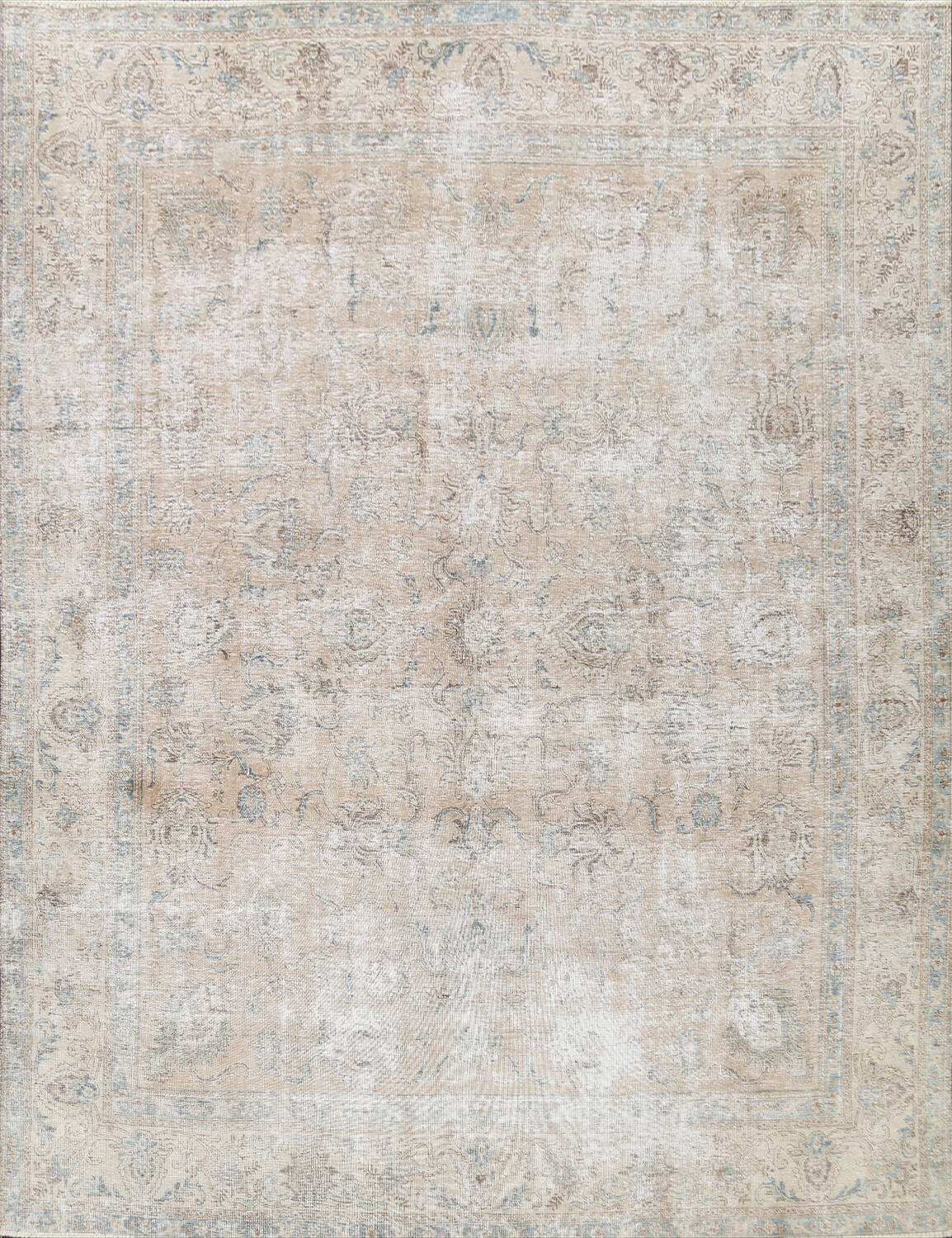 Muted Floral Tabriz Persian Area Rug 10x11 image 1