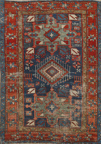 Pre-1900 Antique Vegetable Dye Gharajeh Persian Area Rug 3x4