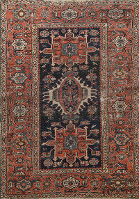 Pre-1900 Antique Vegetable Dye Gharajeh Persian Area Rug 5x6
