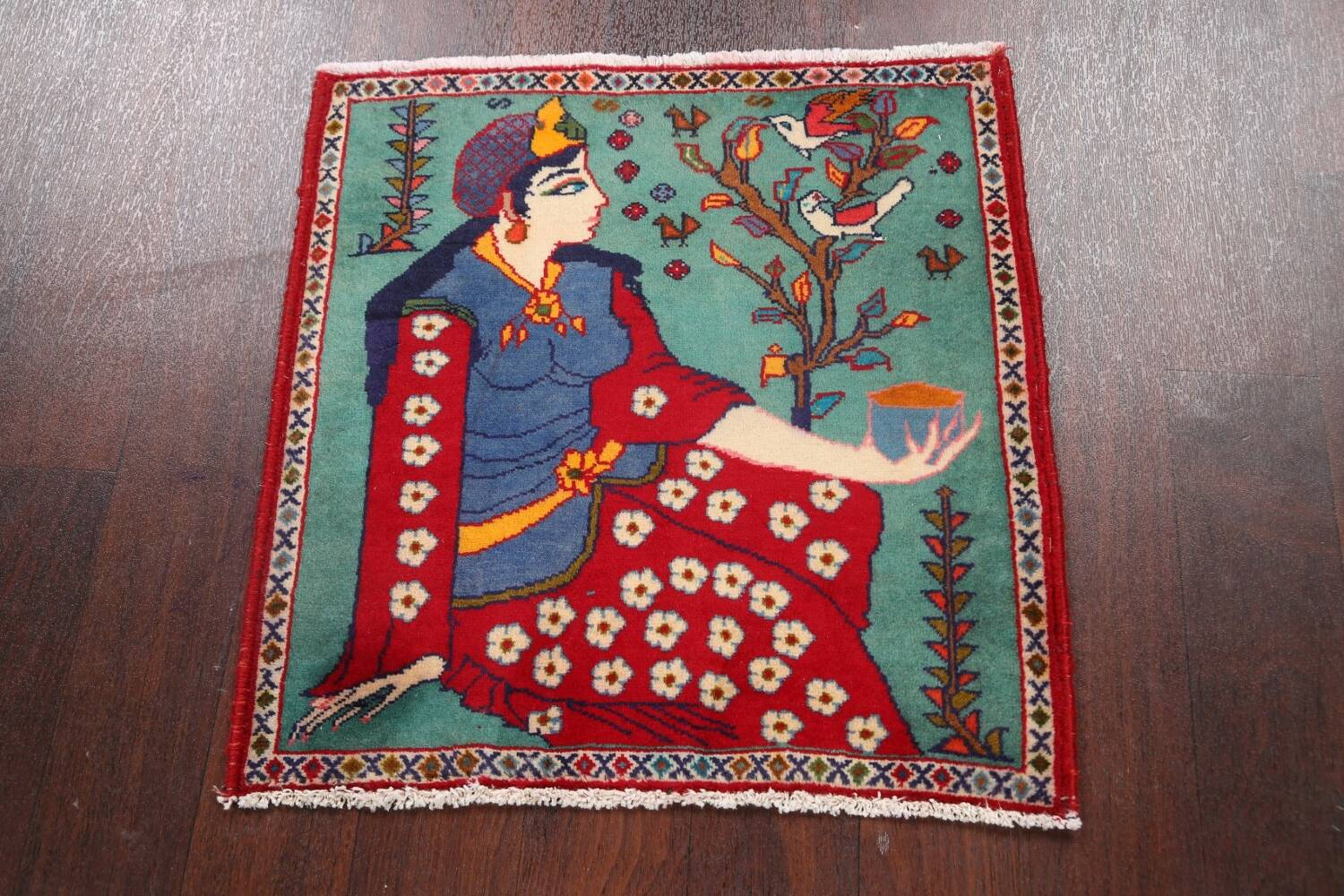 Pictorial Kashmar Persian Area Rug 2x2 Square image 2