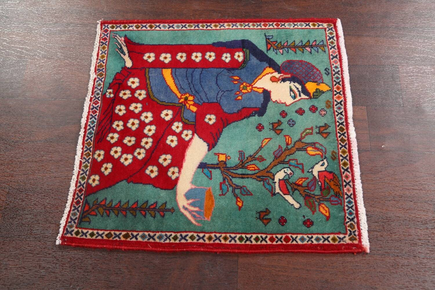 Pictorial Kashmar Persian Area Rug 2x2 Square image 7