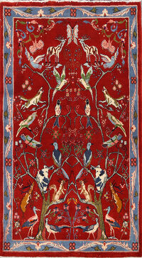 Animal Pictorial Sarouk Persian Area Rug 3x5