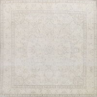 Muted Distressed Tabriz Persian Area Rug 10x10 Square