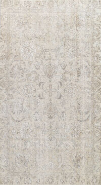 Muted Distressed Tabriz Persian Area Rug 7x11