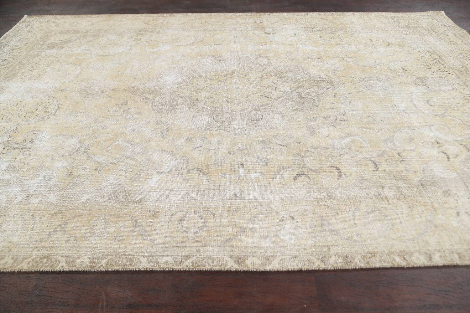 Muted Distressed Tabriz Persian Area Rug 8x12 image 15
