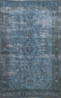 Distressed Over-dyed Hamedan Persian Area Rug 7x10