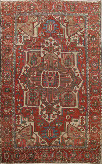 Pre-1900 Antique Vegetable Dye Heriz Serapi Persian Area Rug 9x13