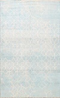 Muted Distressed Modern Oriental Area Rug 6x8