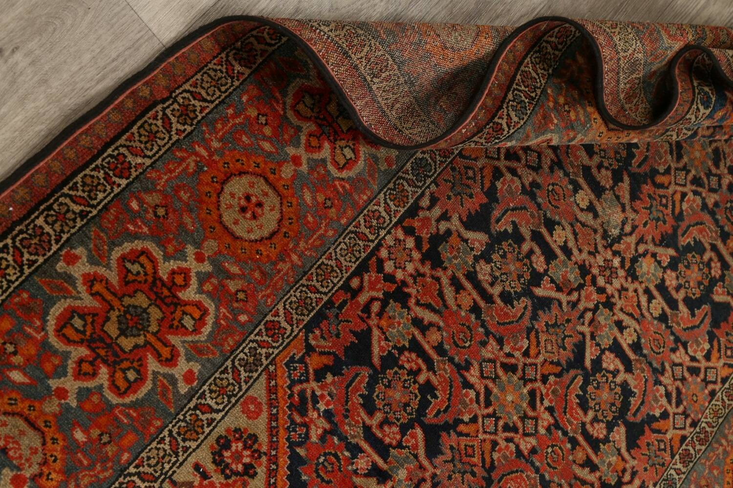 Pre-1900 Antique Vegetable Dye Malayer Persian Area Rug 4x6 image 17