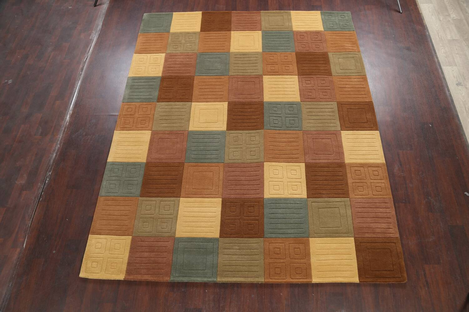 Modern Checked Oriental Area Rug 8x10 image 2