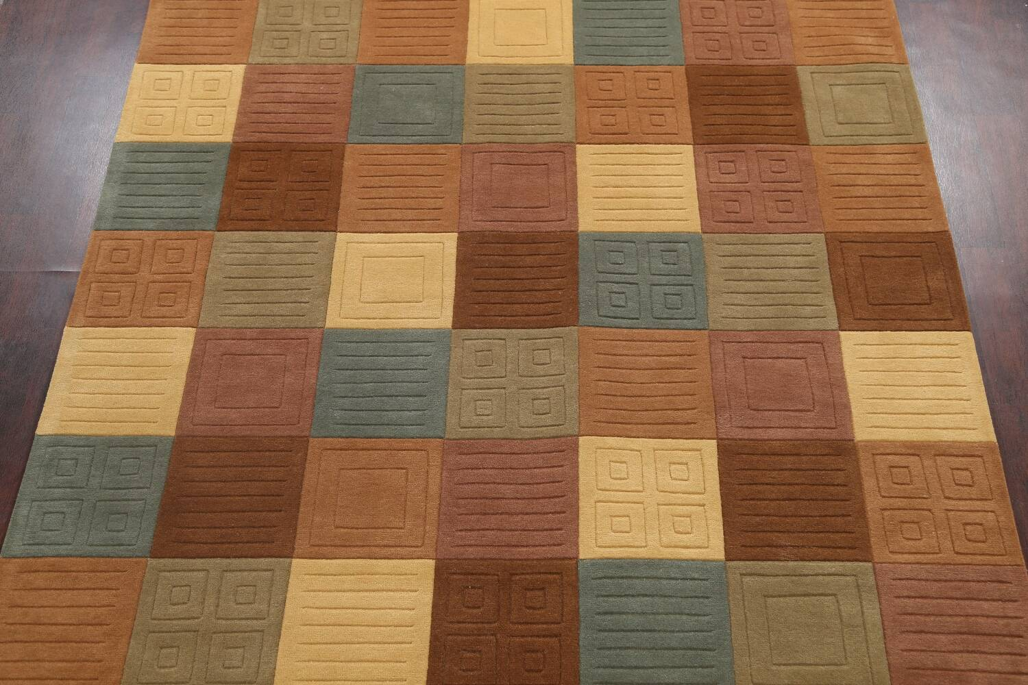 Modern Checked Oriental Area Rug 8x10 image 3
