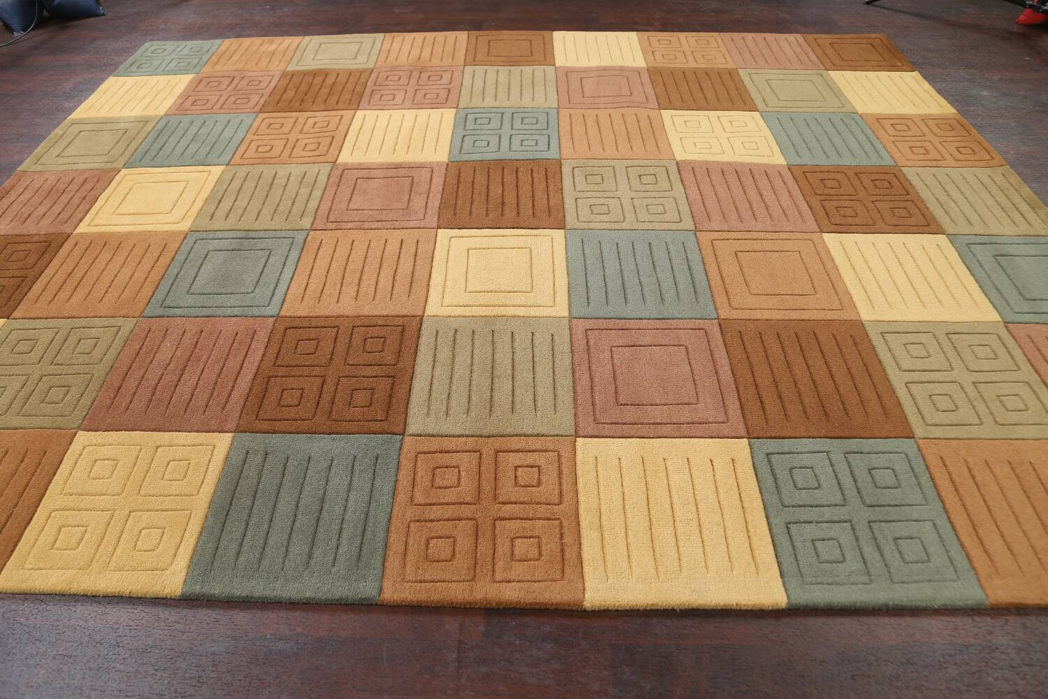 Modern Checked Oriental Area Rug 8x10 image 8