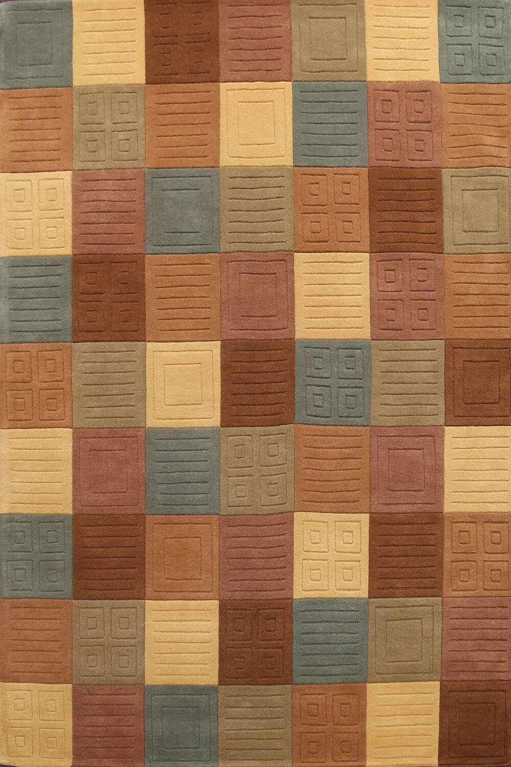 Modern Checked Oriental Area Rug 8x10 image 1