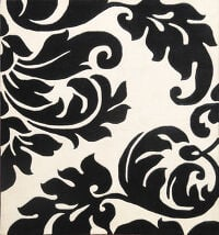 Abstract Black/white Square Oriental Area Rug 6x6