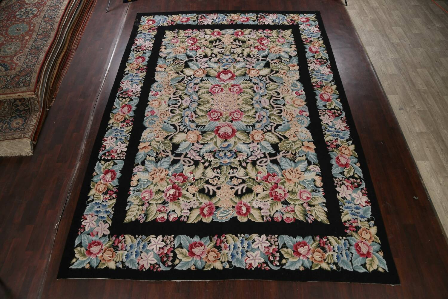 All-Over Floral Needlepoint Oriental Area Rug 10x14 image 2