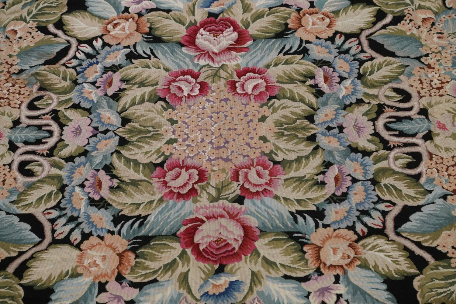 All-Over Floral Needlepoint Oriental Area Rug 10x14 image 4