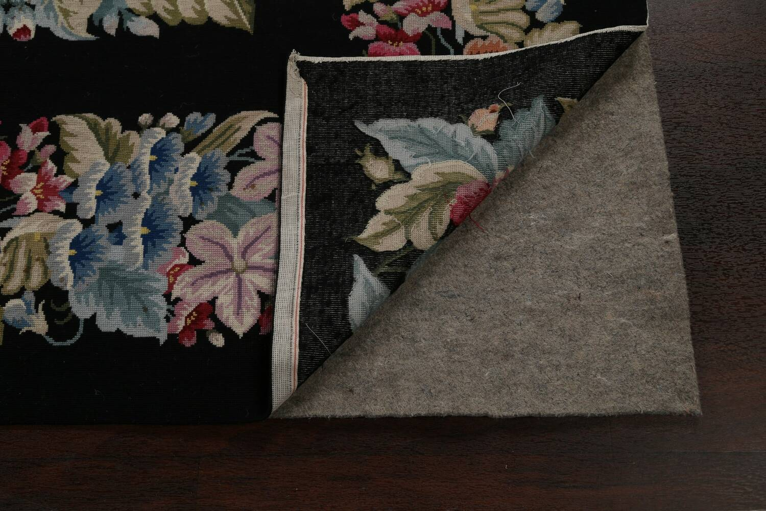All-Over Floral Needlepoint Oriental Area Rug 10x14 image 7