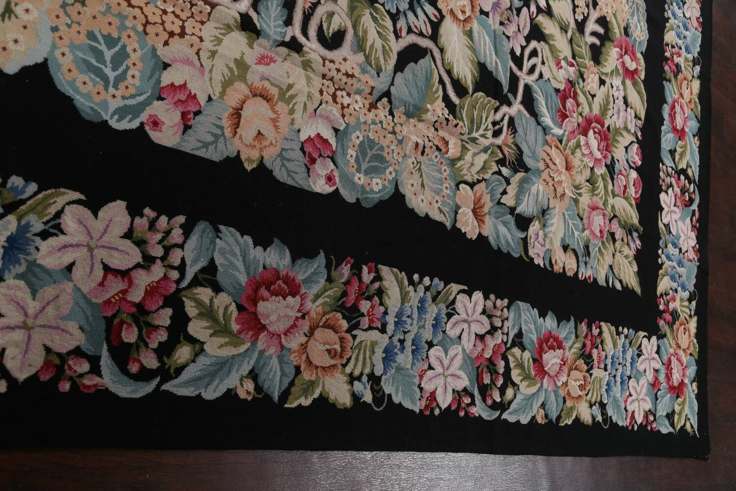 All-Over Floral Needlepoint Oriental Area Rug 10x14 image 12