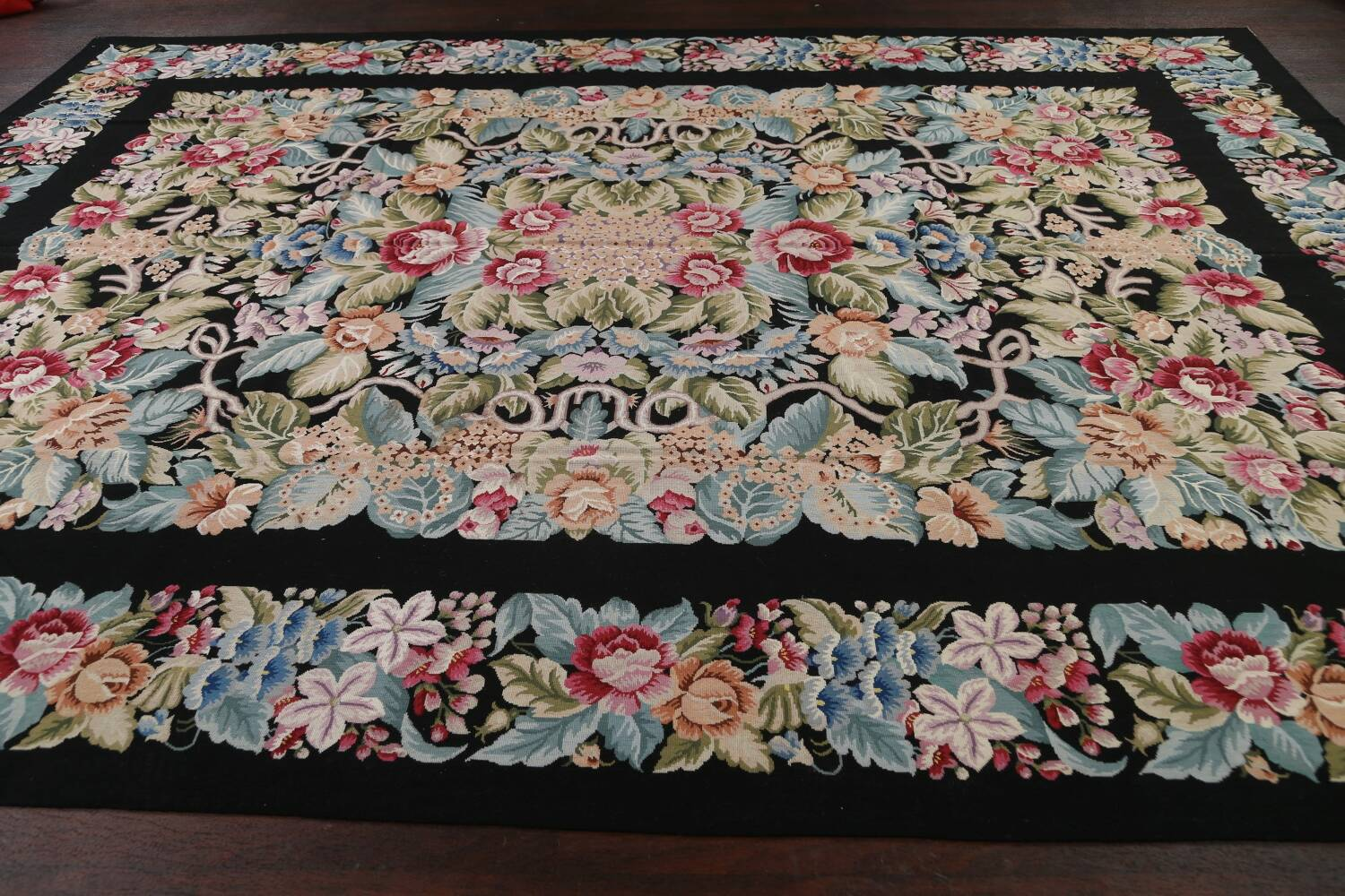 All-Over Floral Needlepoint Oriental Area Rug 10x14 image 13
