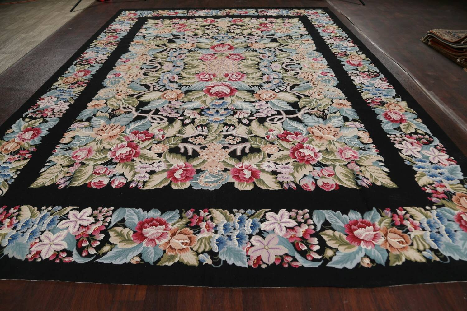 All-Over Floral Needlepoint Oriental Area Rug 10x14 image 14