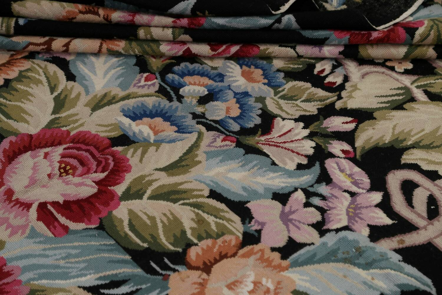 All-Over Floral Needlepoint Oriental Area Rug 10x14 image 15
