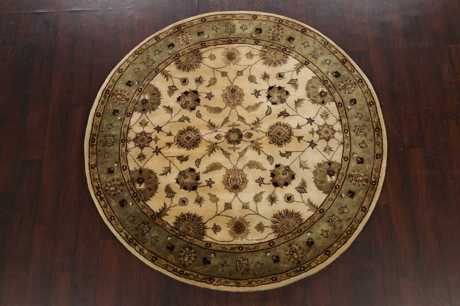 Floral Agra Oriental Area Rug 6x6 Round image 2