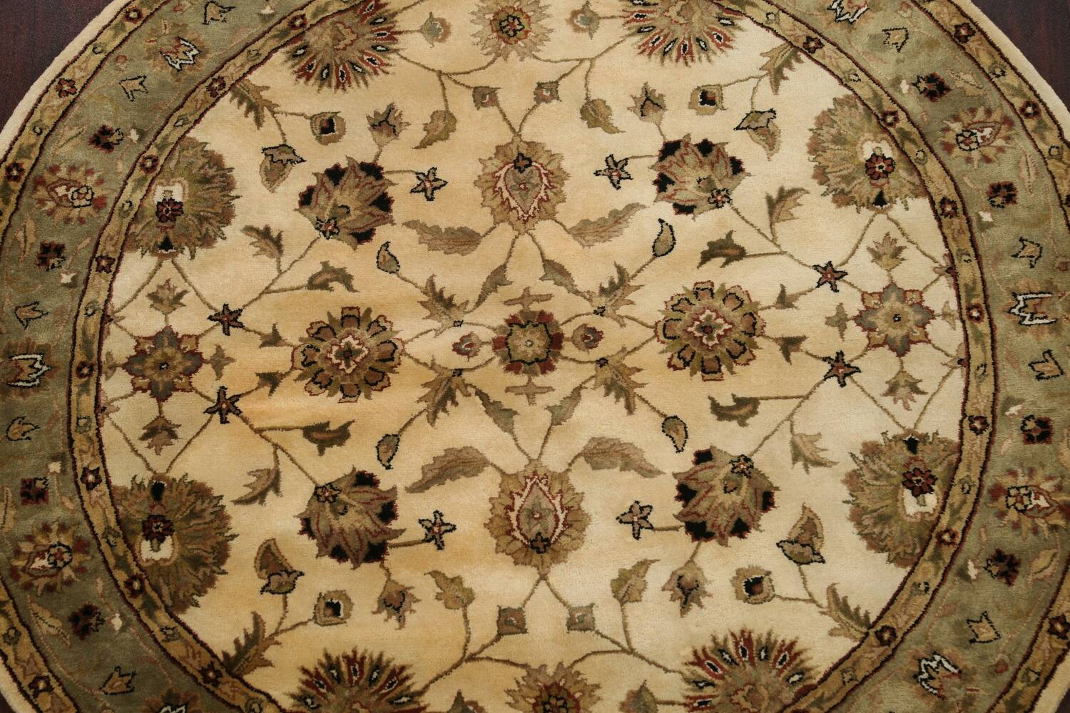 Floral Agra Oriental Area Rug 6x6 Round image 3