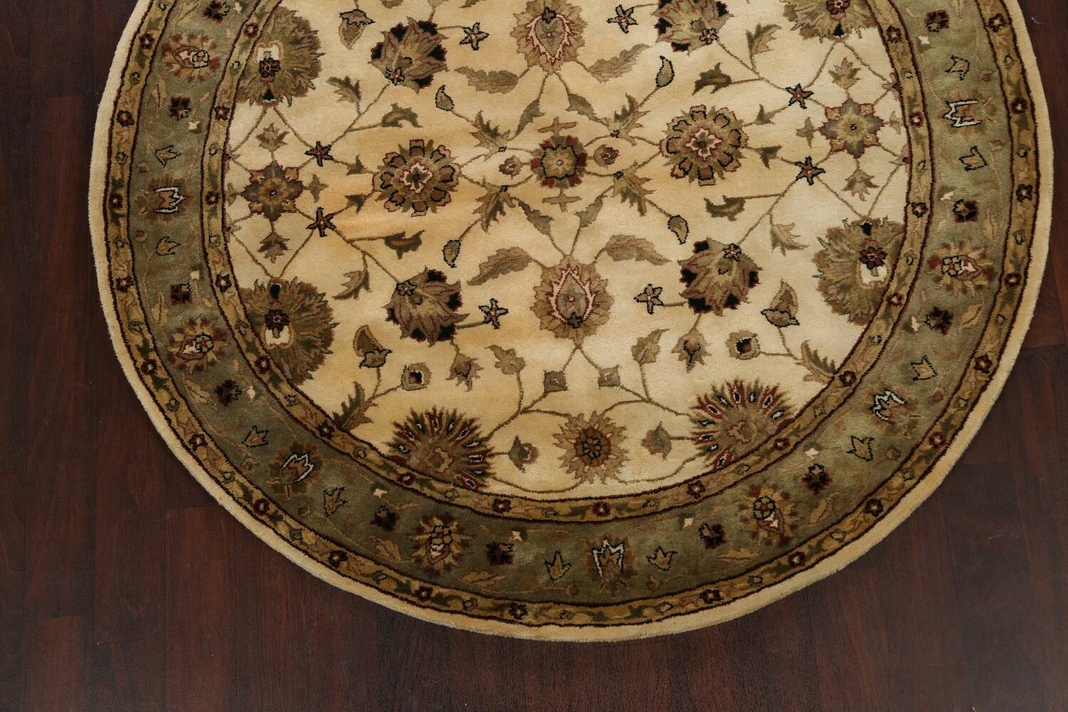 Floral Agra Oriental Area Rug 6x6 Round image 8