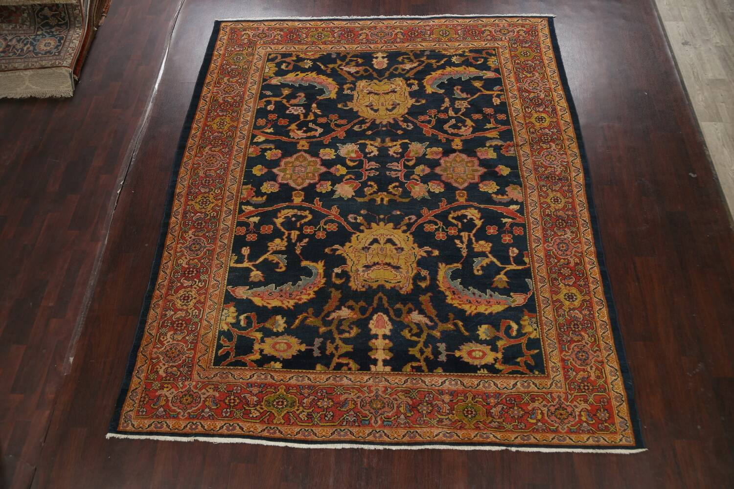 Pre-1900 Antique Vegetable Dye Sultanabad Persian Area Rug 9x10 image 2
