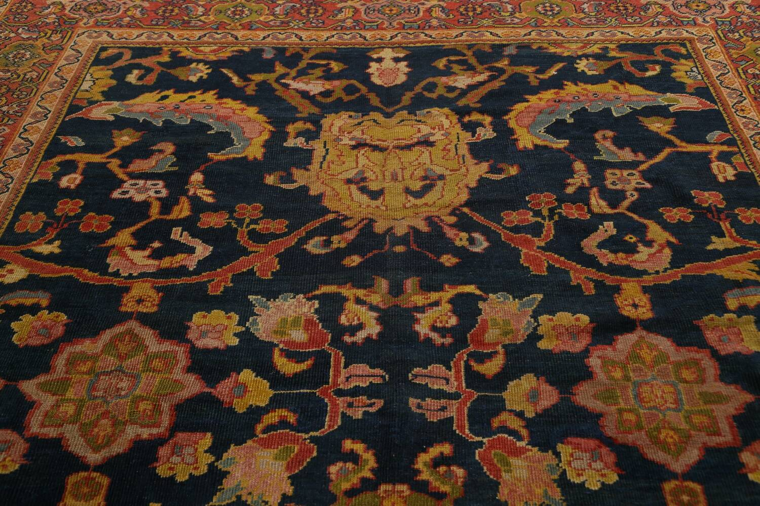 Pre-1900 Antique Vegetable Dye Sultanabad Persian Area Rug 9x10 image 12