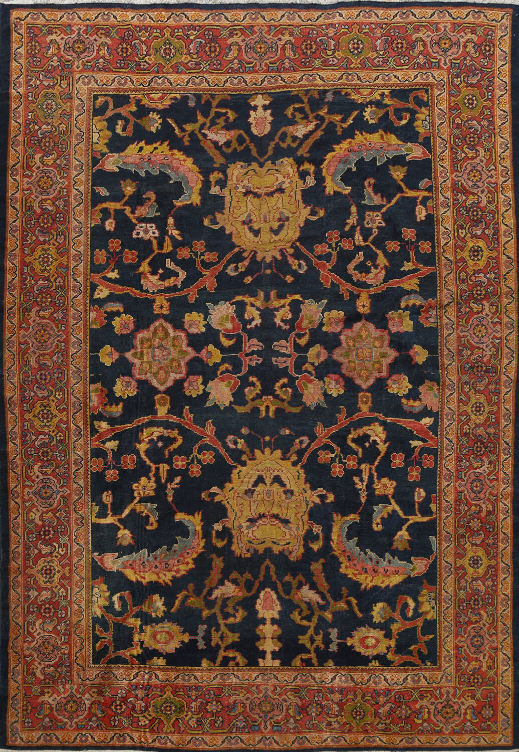 Pre-1900 Antique Vegetable Dye Sultanabad Persian Area Rug 9x10 image 1