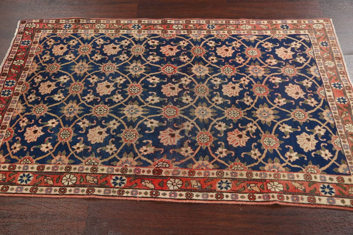 Antique Vegetable Dye Isfahan Persian Area Rug 3x5 image 13