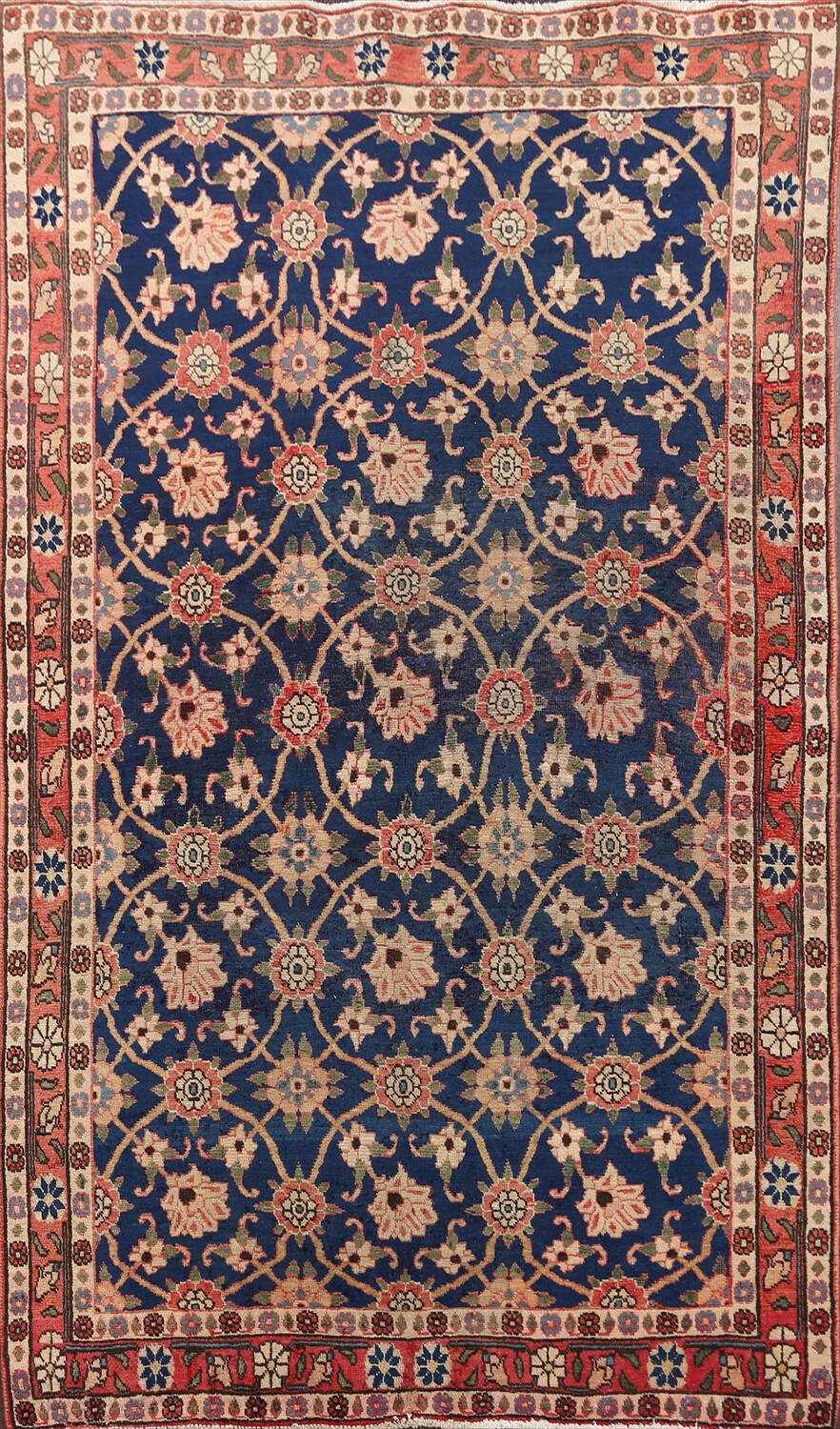 Antique Vegetable Dye Isfahan Persian Area Rug 3x5 image 1