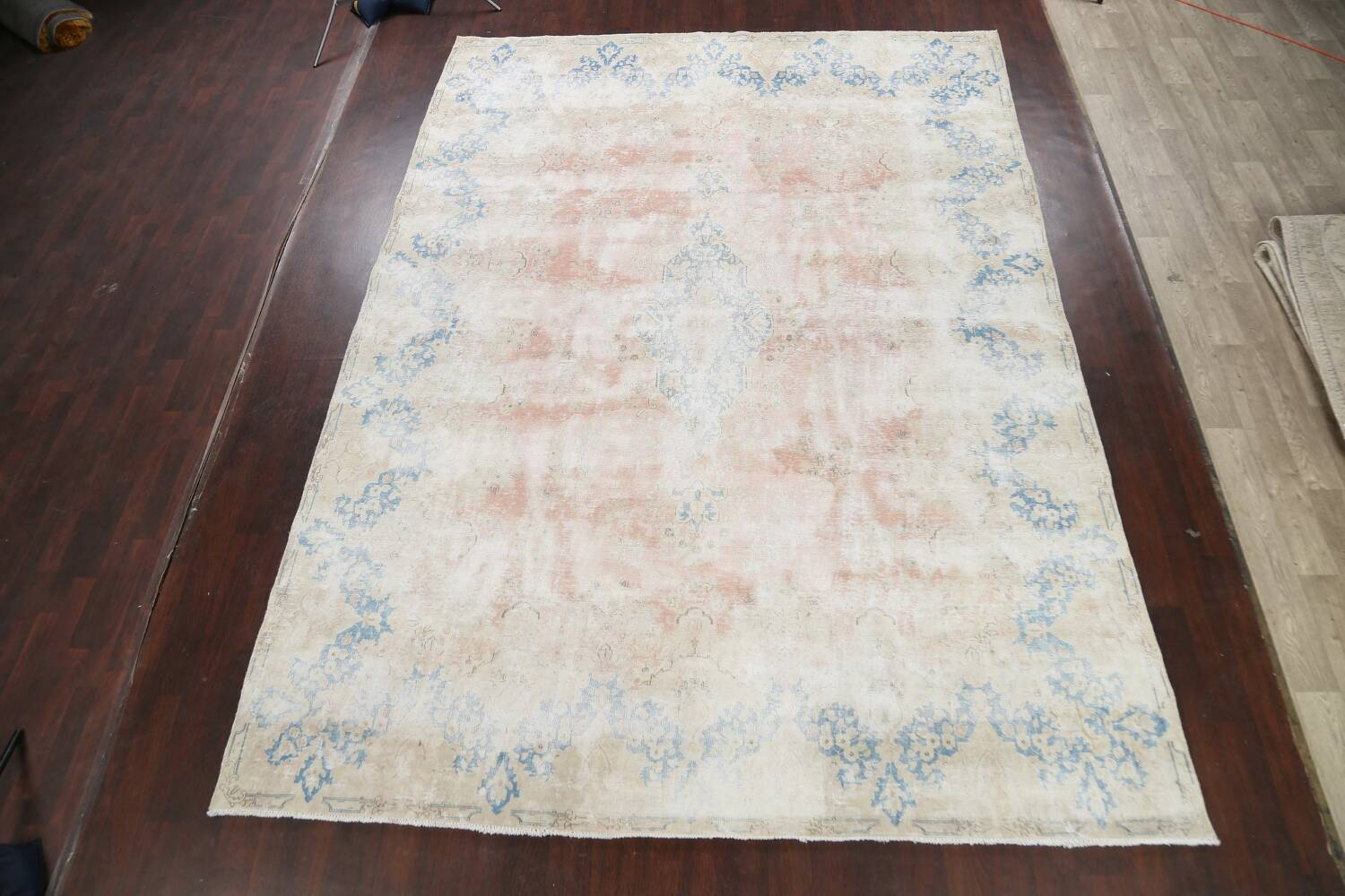 Antique Muted Distressed Kerman Persian Area Rug 10x13 image 2