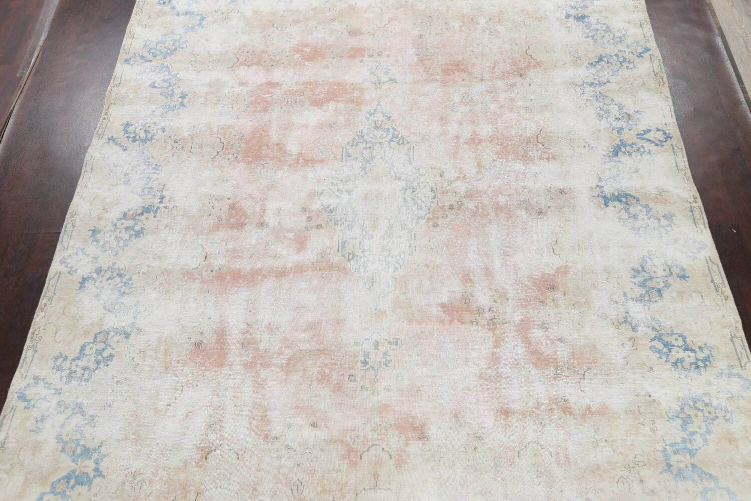 Antique Muted Distressed Kerman Persian Area Rug 10x13 image 3