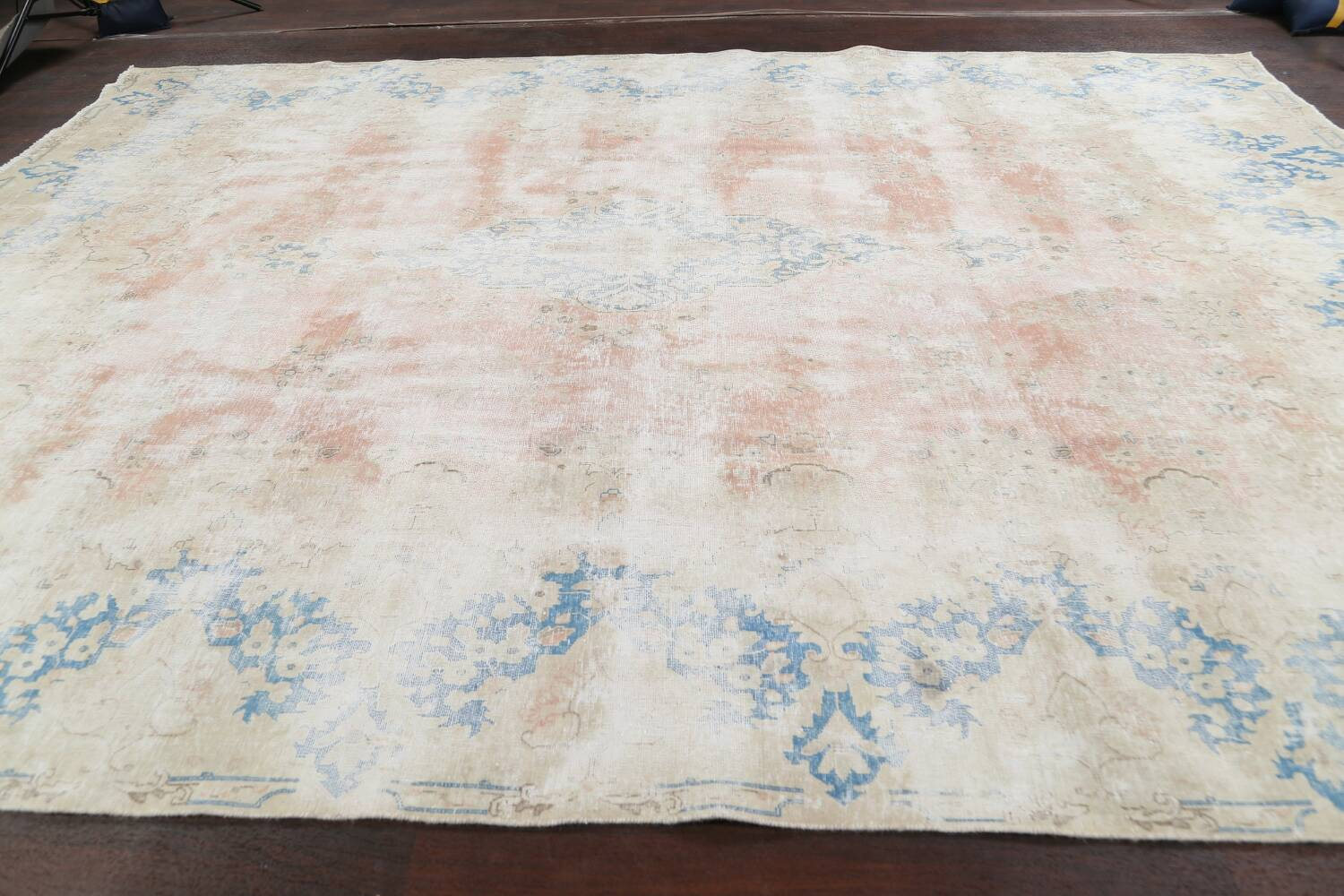 Antique Muted Distressed Kerman Persian Area Rug 10x13 image 14